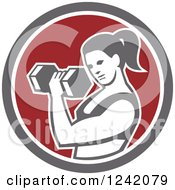 Clipart Of A Fit Woman Doing Bicep Curls With A Dumbbell In A Circle Royalty Free Vector Illustration