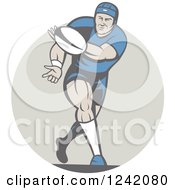 Retro Cartoon Rugby Player Passing A Ball