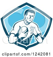 Clipart Of A Retro Male Rugby Player With A Ball In A Blue Shield Royalty Free Vector Illustration