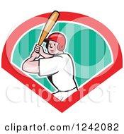 Clipart Of A Batting Cartoon Baseball Player Man In A Diamond Royalty Free Vector Illustration