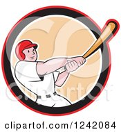 Clipart Of A Swinging Cartoon Baseball Player Man In A Circle Royalty Free Vector Illustration