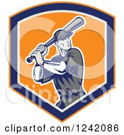 Clipart Of A Retro Woodcut Swinging Cartoon Baseball Player Man In A Shield Royalty Free Vector Illustration