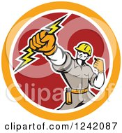 Clipart Of A Retro Electrican Holding Up A Fist And Bolt In A Circle Royalty Free Vector Illustration