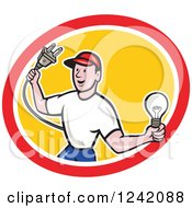 Clipart Of A Happy Cartoon Male Electrician Holding A Plug And Lightbulb In A Circle Royalty Free Vector Illustration
