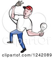 Clipart Of A Happy Cartoon Male Electrician Holding A Plug And Lightbulb Royalty Free Vector Illustration by patrimonio