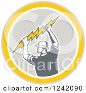 Clipart Of A Retro Male Electrician Holding A Bolt In A Circle Royalty Free Vector Illustration
