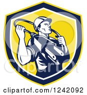 Clipart Of A Retro Male Electrician With A Plug Around His Neck In A Shield Royalty Free Vector Illustration by patrimonio