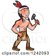 Clipart Of A Cartoon Native American Indian Brave Holding A Tomahawk Royalty Free Vector Illustration