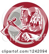Clipart Of A Retro Woodcut Native American Indian Brave Warrior With A Tomahawk In A Circle Royalty Free Vector Illustration