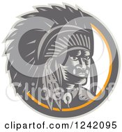 Clipart Of A Retro Woodcut Native American Chief In A Circle Royalty Free Vector Illustration