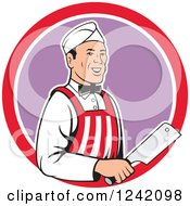 Clipart Of A Retro Happy Butcher With A Knife In A Circle Royalty Free Vector Illustration by patrimonio