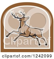 Clipart Of A Cartoon Brown Buck Deer Leaping In A Shield Royalty Free Vector Illustration