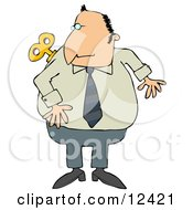 Man Looking Over His Shoulder At The Windup Key On His Back Clipart Illustration