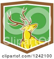 Clipart Of A Cartoon Yellow Buck Deer In A Green And Brown Shield Royalty Free Vector Illustration by patrimonio