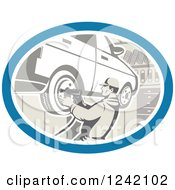 Clipart Of A Retro Car Mechanic Working On Tires In A Garage Royalty Free Vector Illustration