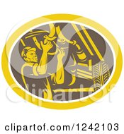 Clipart Of A Retro Woodcut Car Mechanic Working Under The Chassis In An Oval Royalty Free Vector Illustration by patrimonio