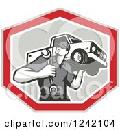 Clipart Of A Retro Mechanic Carrying A Wrench And Pickup Truck In A Shield Royalty Free Vector Illustration by patrimonio