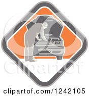 Clipart Of A Retro Car Mechanic Working Under The Hood In A Diamond Royalty Free Vector Illustration