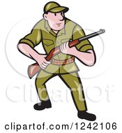 Clipart Of A Cartoon Male Hunter With A Rifle Royalty Free Vector Illustration by patrimonio