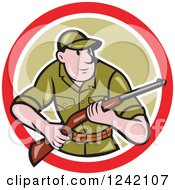 Cartoon Male Hunter With A Rifle In A Circle