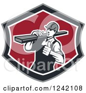 Clipart Of A Retro Male Carpenter Carrying Lumber In A Shield Royalty Free Vector Illustration