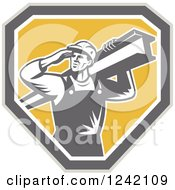 Retro Male Construction Worker Carrying A Beam Over A Shield