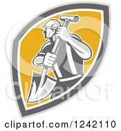Clipart Of A Retro Male Construction Worker With A Shovel In A Shield Royalty Free Vector Illustration by patrimonio