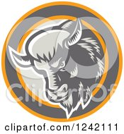 Clipart Of A Retro Woodcut Buffalo Head In A Circle Royalty Free Vector Illustration