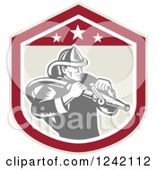 Clipart Of A Retro Woodcut Fireman Wielding A Hose In A Shield Royalty Free Vector Illustration