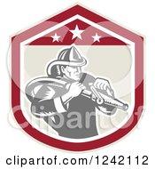Retro Woodcut Fireman Wielding A Hose In A Shield