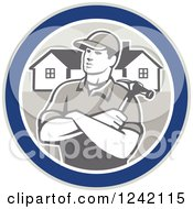 Clipart Of A Retro Male Home Bulider In A Circle With Houses And A Hammer Royalty Free Vector Illustration