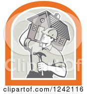 Clipart Of A Retro Male Home Bulider Carrying A House And Hammer In A Crest Royalty Free Vector Illustration