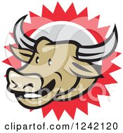 Clipart Of A Happy Texas Longhorn Bull Over A Burst Royalty Free Vector Illustration