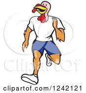 Clipart Of A Running Turkey Bird Royalty Free Vector Illustration