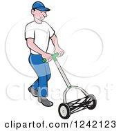 Clipart Of A Cartoon Gardener Man Using A Manual Lawn Cylinder Mower Royalty Free Vector Illustration
