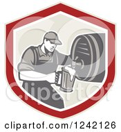 Clipart Of A Retro Bartender Pouring A Beer From A Keg In A Shield Royalty Free Vector Illustration