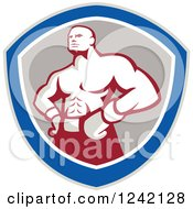 Clipart Of A Retro Muscular Boxer Man In A Shield Royalty Free Vector Illustration