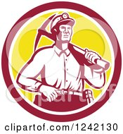 Clipart Of A Retro Male Miner Worker With A Pickaxe In A Circle Royalty Free Vector Illustration