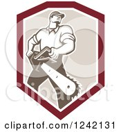 Retro Strong Male Arborist With A Chainsaw In A Shield