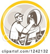 Clipart Of A Retro Male Satellite Installer Adjusting A Dish In A Circle Royalty Free Vector Illustration