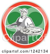 Clipart Of A Retro Pizzeria Man With A Pie On A Peel In A Circle Royalty Free Vector Illustration