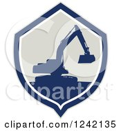 Clipart Of A Silhouetted Excavator Machine In A Shield Royalty Free Vector Illustration