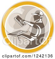 Clipart Of A Retro Male Plasterer Working In A Circle Royalty Free Vector Illustration by patrimonio