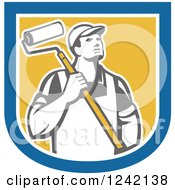 Clipart Of A Retro Male House Painter With A Roller Brush In A Shield Royalty Free Vector Illustration