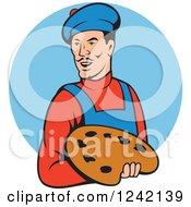 Clipart Of A Cartoon Artist Man With A Palette Over A Blue Circle Royalty Free Vector Illustration