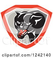 Clipart Of A Black Panther In A Gray And Red Shield Royalty Free Vector Illustration