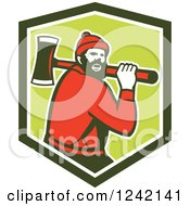 Retro Logger Paul Bunyan With An Axe In A Shield