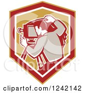 Clipart Of A Retro Photographer In A Shield Royalty Free Vector Illustration