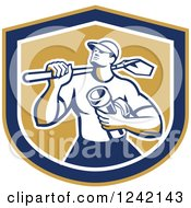 Clipart Of A Retro Drainlayer Man Carrying A Shovel And Pipe In A Shield Royalty Free Vector Illustration