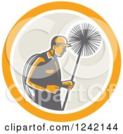 Clipart Of A Retro Male Chimney Sweep In A Circle Royalty Free Vector Illustration by patrimonio